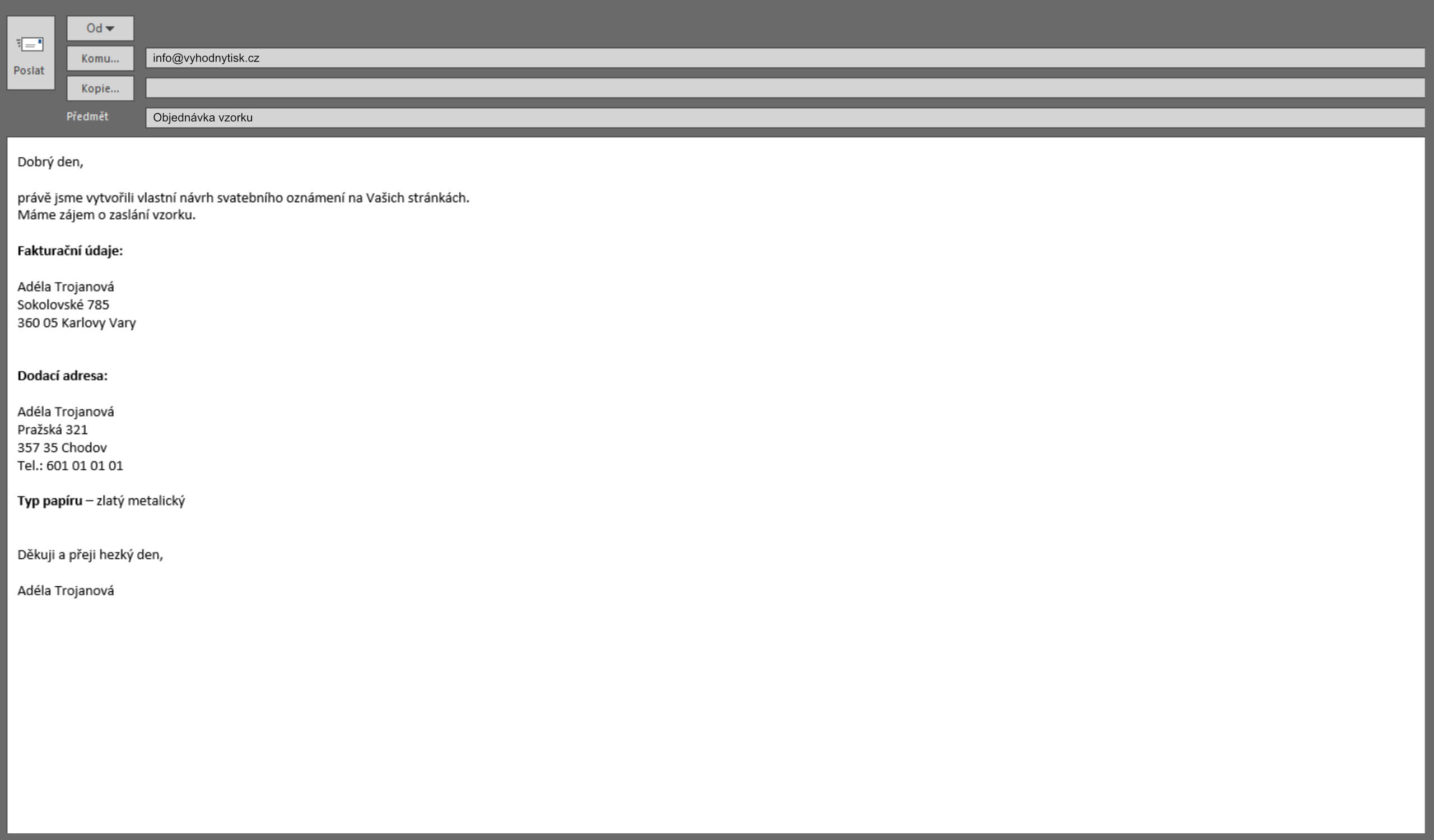E-mail k objednávce vzorku oznámení zdarma